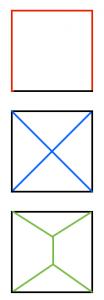 正方形の頂点を結ぶ最短経路